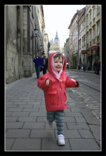 Audrey running to me through Lviv
