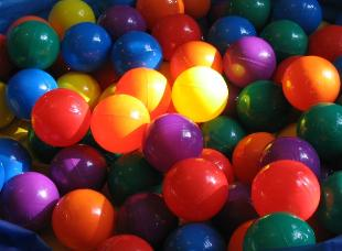 Audrey's ball pit. Happy colors.
